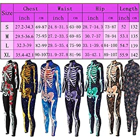- 61SuXPOXj2L - Honeystore Women's Halloween Skeleton Catsuit Costume 3D Stretch Skinny Bodysuit