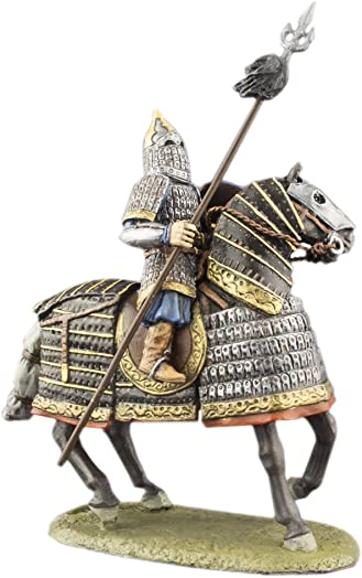 Heavy Mounted Horse Rider Mongolian Cavalrys Hand Painted Tin Metal 54mm Action Figures Toy Soldiers Size 1 32 Scale for Home D cor Accents Collectible Figurines Item 6025ML