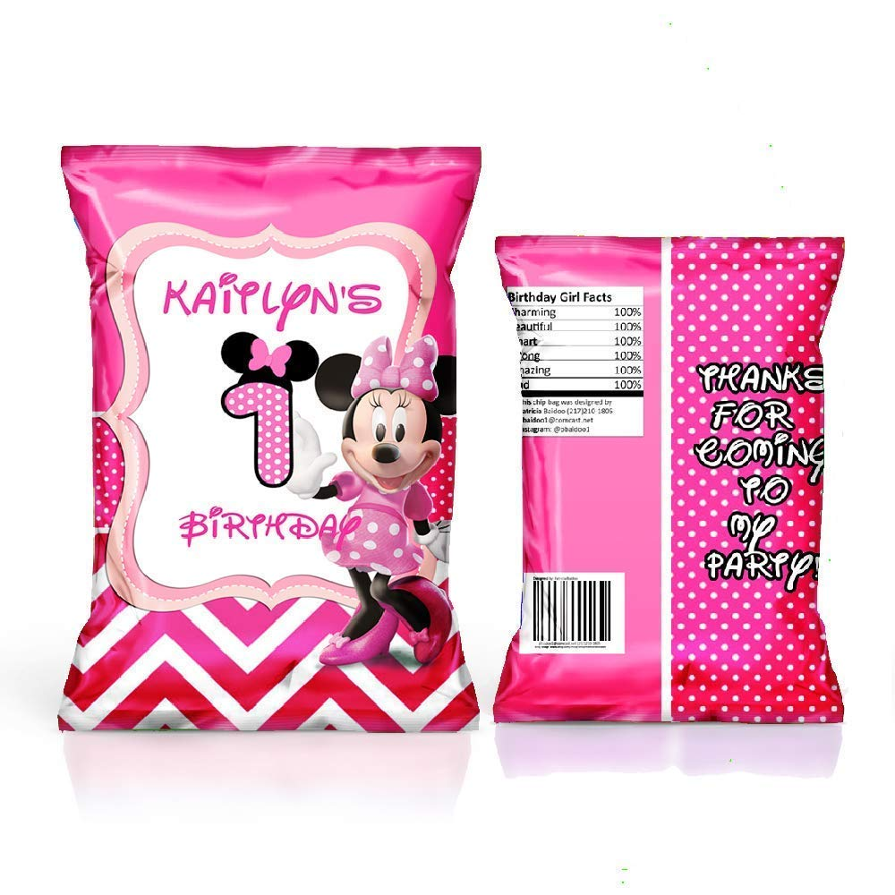 Amazon Com 12 Personalized Chip Bags Minnie Mouse Party Minnie