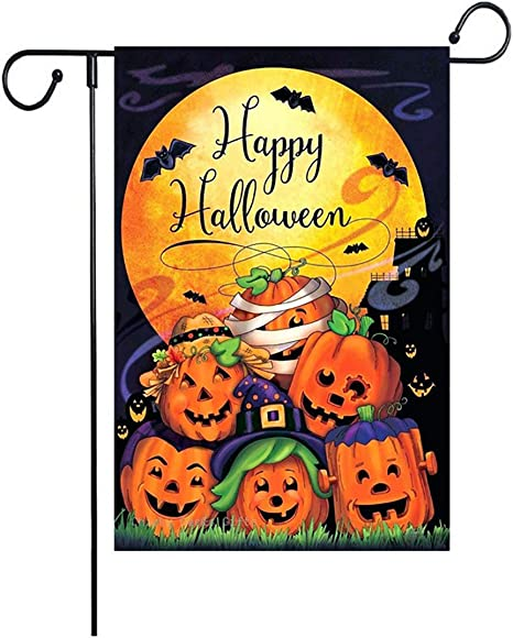 Zgoo Halloween Garden Flags Happy Halloween Decoration 28 X 40 Inch House Flag Double Sided Scary Night Decorative Pumpkin For Outdoor Home Lawn Yard Flag Amazon Co Uk Garden Outdoors