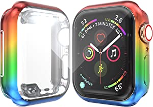 Josi Minea iWatch 5 & 4 [44mm] Protective Snap-On Case with Built-in HD Clear Screen Protector - Shockproof & Anti-Scratch Thin Cover Shield Compatible with Apple Watch Series 5 & 4 [44mm - Red]