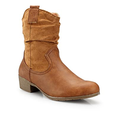 Damen Stiefeletten Leder JEPO Optik Cowboy leicht Look DbeW9E2IHY