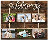 My Blessings Script 18 x 21 Inch Solid Pine Wood Clothesline Clipboard Photo and Momento Display