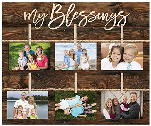P. GRAHAM DUNN My Blessings Script 18 x 21 Inch Solid Pine Wood Clothesline Clipboard Photo and Momento Display