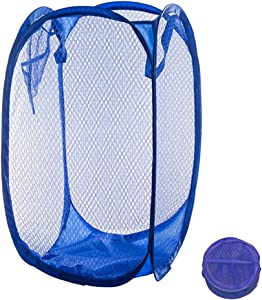 Qtopun Mesh Popup Laundry Hamper Foldable Laundry Basket Portable Dirty Clothes Basket Collapsible Dirty Clothes Hamper for Bedroom, Kids Room, College Dormitory and Travel (Dark Blue)
