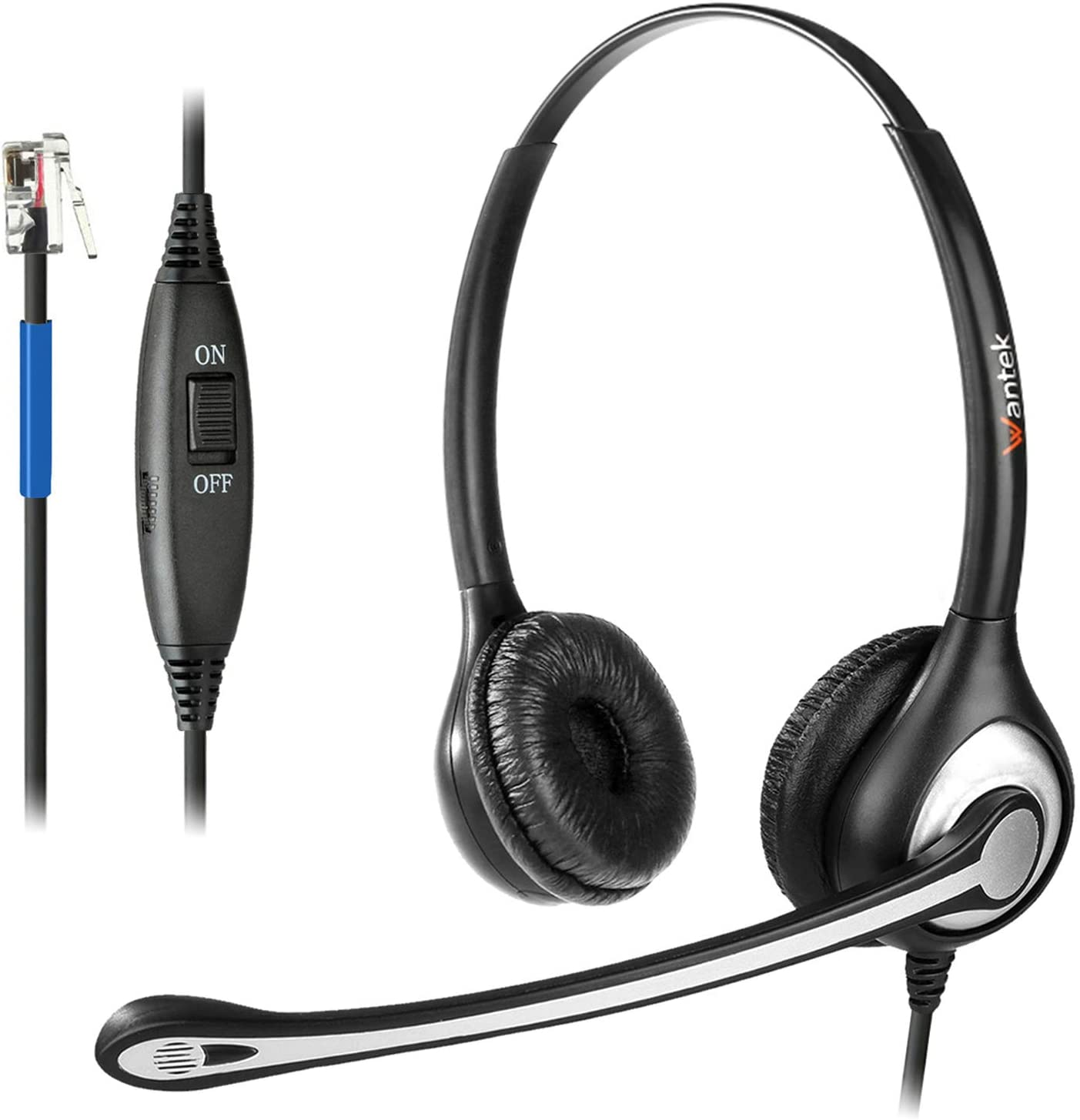 Wantek Phone Headset with Microphone Noise Cancelling, RJ9 Telephone Headsets Compatible with Cisco Office Phones 7940 7942 7945 79607962 7965 7811 7821 8811 8841 8845 8851 Plantronics M12 M22