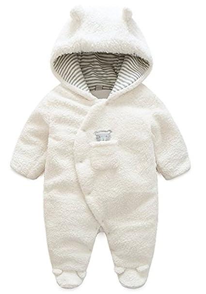 YOGLY Bebé Peleles Mameluco con Capucha Cálido Monos Invierno, Blanco 3-6 Meses Niños Niñas: Amazon.es: Ropa y accesorios