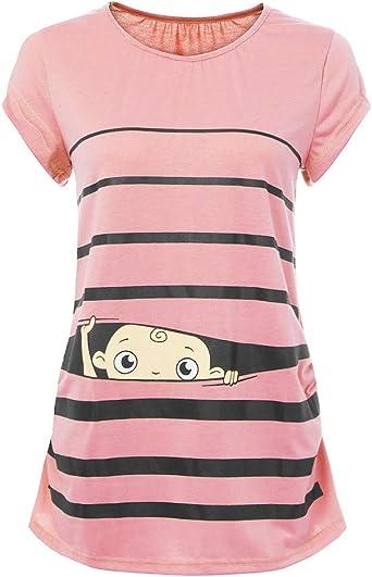 Imagen deHCFKJ Ropa Premamá Invierno Talla Grande para Mujer Embarazadas Embarazada Cuello Redondo Lindo Bebé Divertido ImpresióN Rayas Manga Corta Camiseta Mujer Embarazada Blusa