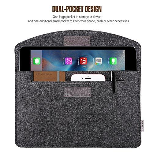 "MoKo 7-8 Inch Sleeve Bag, Portable Carrying Protective Felt Tablet Case Cover Fits iPad Mini (5th Gen) 7.9"" 2019, iPad Mini 1/2/3/4, Samsung Galaxy Tab S2 8.0, Tab A 8.0, ZenPad Z8s 7.9 - Dark Gray"