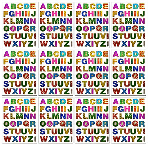 (A-Z Stickers High 1.6cm 12 Sheets Colorful Alphabet Letters Self-Adhesive Glitter Metallic Foil Reflective Decorative Scrapbook for Name Photo Card Diary Album Planners (Each Letter High)