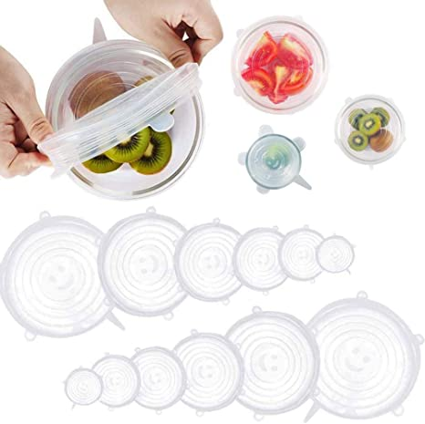 Silicone Food Wrap Reusable Seal Cover Keep Fresh Cap Stretchable Lid Pack of 6