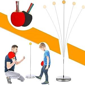 Table Tennis Trainer Ping Pong Balls Paddles Set Training Elastic Soft Shaft Equipment Trainer Practice Ball Bulk Child Kid Indoor Outdoor Play with 2 Table Tennis Paddle & 5 Ping-Pong Balls
