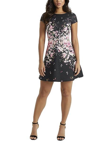 Lipsy Mujer Vestido Evasé Con Estampado De Textura Negro 36