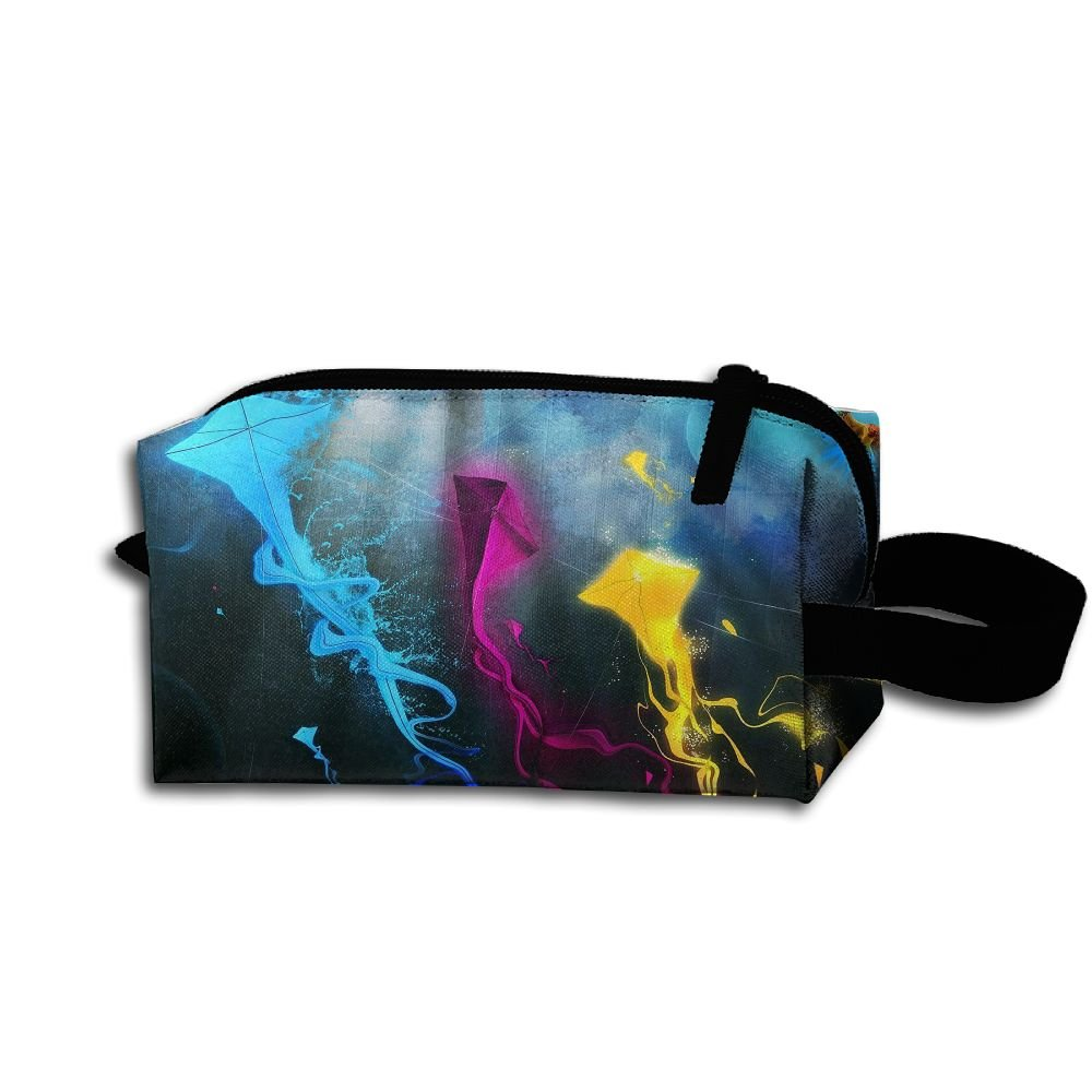 メイクアップコスメティックバッグカラフルカイトパターンMedicine Bag Zip旅行ポータブルストレージポーチforメンズレディース   B07DWL9135