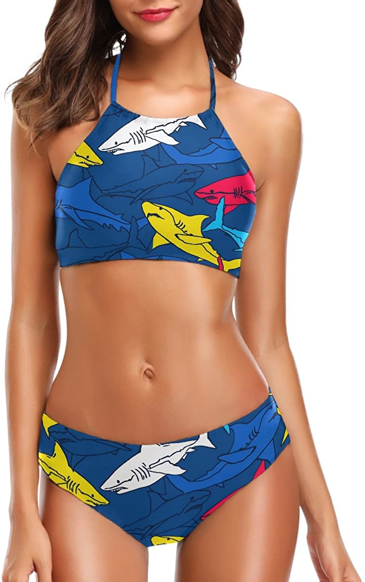Naanle Women's Chic Summer Beach Hot 2 Piece Halter Neack High Waist Padded Sexy Swimsuit