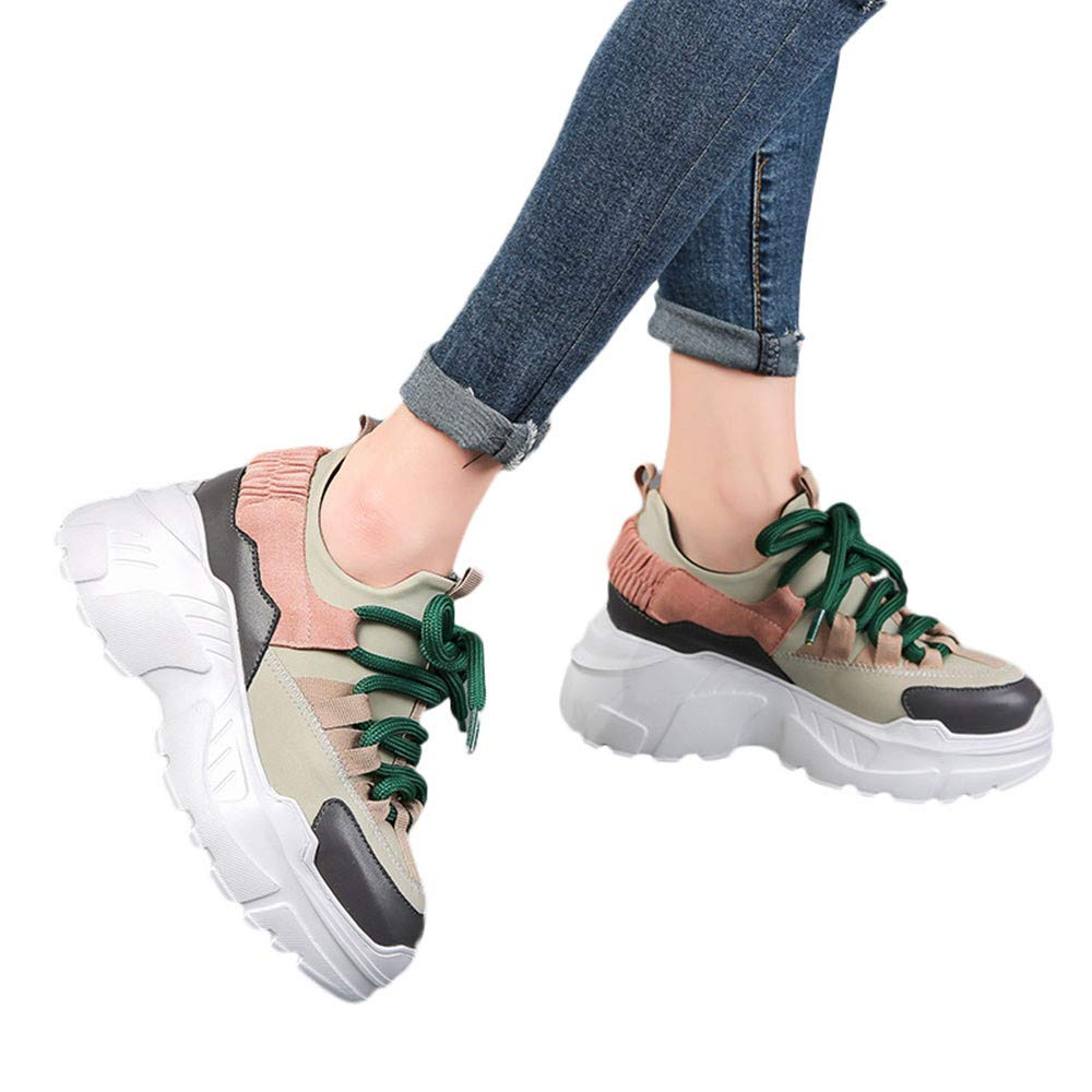 Amazon.com: Women Student Casual Shoe Increase High Shoes Round Head Lace-UP Flat snekers: Clothing