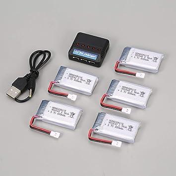 5Pcs 3.7V 800mAh Batería + 5 en 1 Cargador USB para Syma X5C X5SW ...