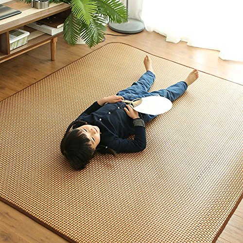 MAXYOYO Memory Foam Breathable Summer Sleeping Pad Cool Mattress Topper, Thickness 1.2 cm Large Rattan Mat Japanese Tatami Mat Boys Girls Non Slip Crawling Mat, 59 by 79 -