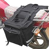 CAMOAR サイドバッグ バイク用 大容量 旅行 長距離ツーリング ツールバッグ 25L*2 ブラック
