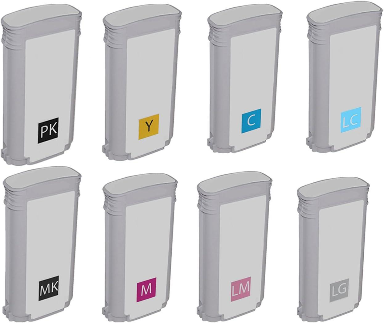 Awesometoner Compatible Ink Cartridge Replacement for HP 70 C9448A C9449A C9451A C9452A C9453A C9454A C9390A C9455A use with DesignJet Z2100 MBK, PBK, LGY, C, M, Y, LC, LM, 8-Pack