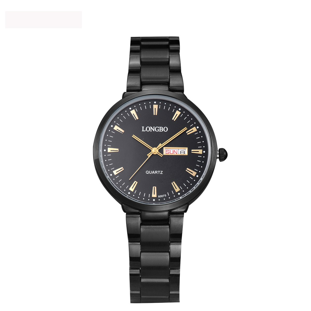 LONGBO Casual Womens Black Stainless Steel Band Strap Analog Quartz Watch Waterproof Auto Date Day Calendar Business Wristwatches Multifunction Couple Watches for Lady