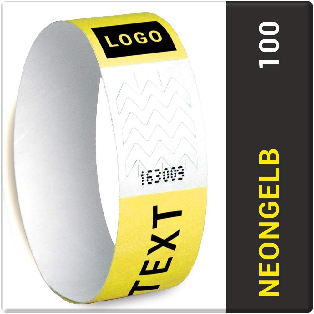 Tyvek 19 mm Kontrollb/änder Partyb/änder Secureb/änder Silber, 100 St/ück Eventb/änder Eintrittsb/änder personalisiert Name//Logo Festivalb/änder NEON//Metallfarben