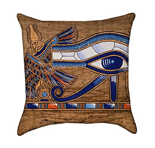 Eye of Horus Sun God Egyptian Papyrus Throw Pillow