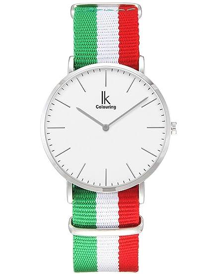 Alienwork Reloj cuarzo elegante relojes mujer moda Euro 2016 fútbol Italia Nylon blanco verde U04826L-01: Amazon.es: Relojes