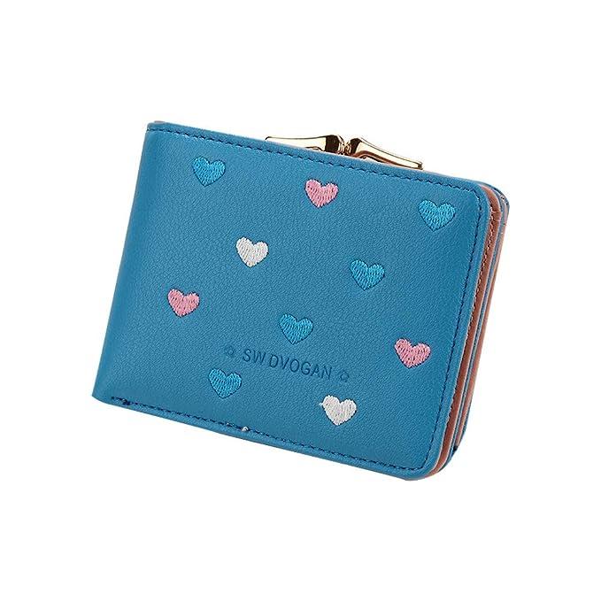 Amazon.com: Domccy Moda Amor Corazón Cartera de Cuero ...