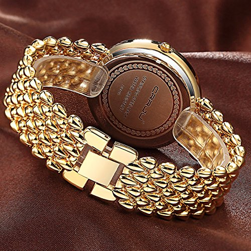 MODIWEN Fashion Trend Diamond Luxury Women Dress Watches, Golden Silver Woman Causal Waterproof Wristwatch Bracelet