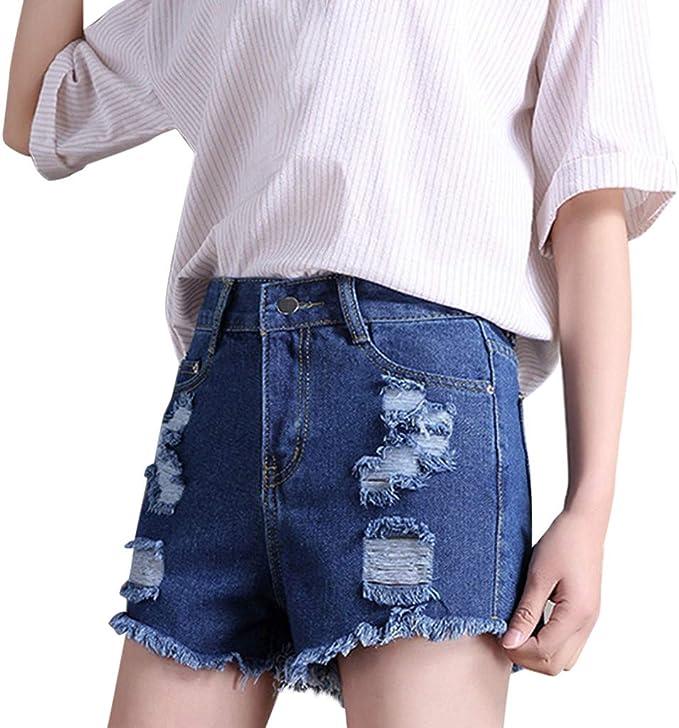 Damen Jeans Shorts Sommer Denim Stretch Hotpant kurze Hose Hot Pants Blumen
