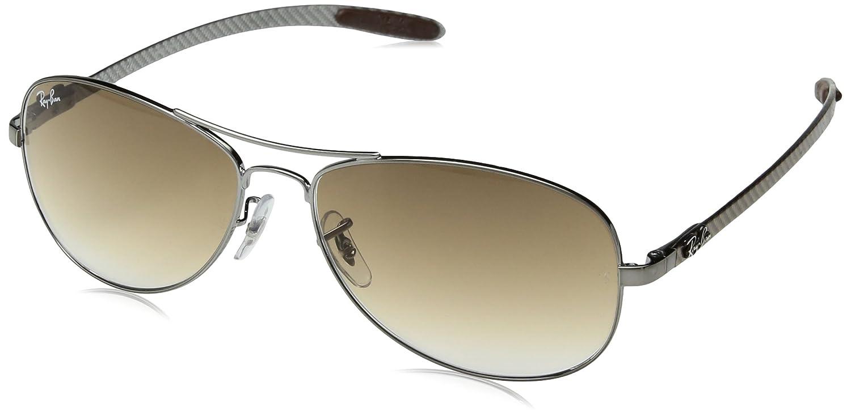 TALLA 59. Ray-Ban Tecnología carbono fibra aviador gafas de sol en Gunmetal Crystal Brown gradiente RB8301 004/51 59
