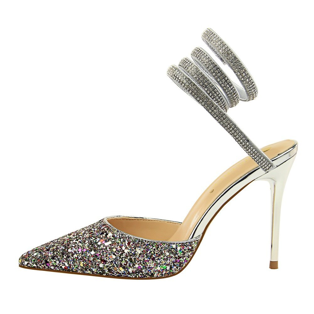 LIANGXIE LIANGXIE LIANGXIE Damen Spähen Open-Toe Plattform Damen High Heels Ankle Straps Sandalen Brides Hochzeit Pailletten schuheXIAOQI 8912a8