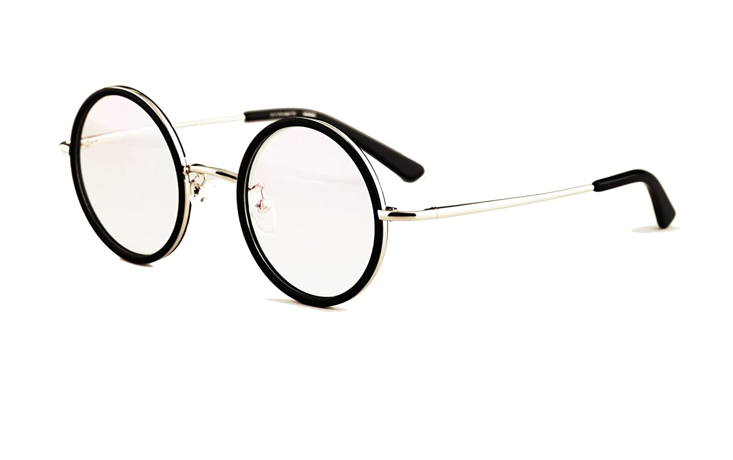 Agstum Small Round Optical Glasses Frame Spring Hinge Clear Lens 43mm 43) A-8029