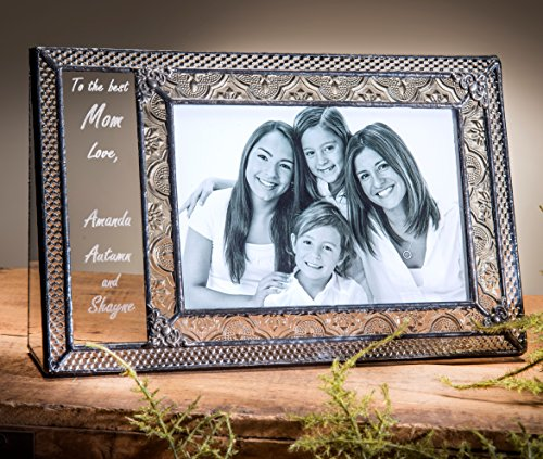 J Devlin Pic 393-46H EP529 Personalized Gift for Mom or Grandma Engraved Glass Picture Frame Table Top 4x6 Horizontal Photo Keepsake Gift - Engraved Glass Picture Frame