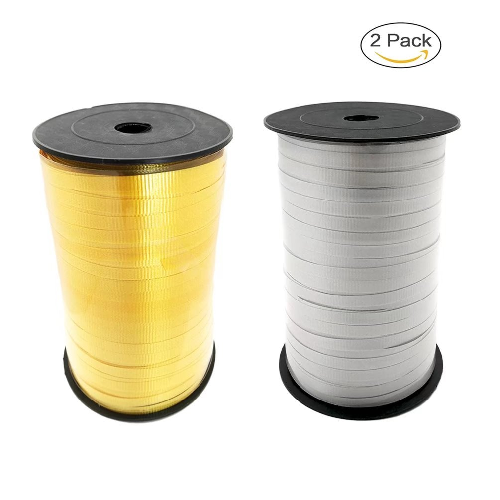 Woodlandu Crimped Curling Ribbon Rolls for Gift Wrapping,Decorations home,fixed balloons.Wedding,holiday,party supplies 3//16-Inch Wide by 1000-Yard Spool Gold,Sliver