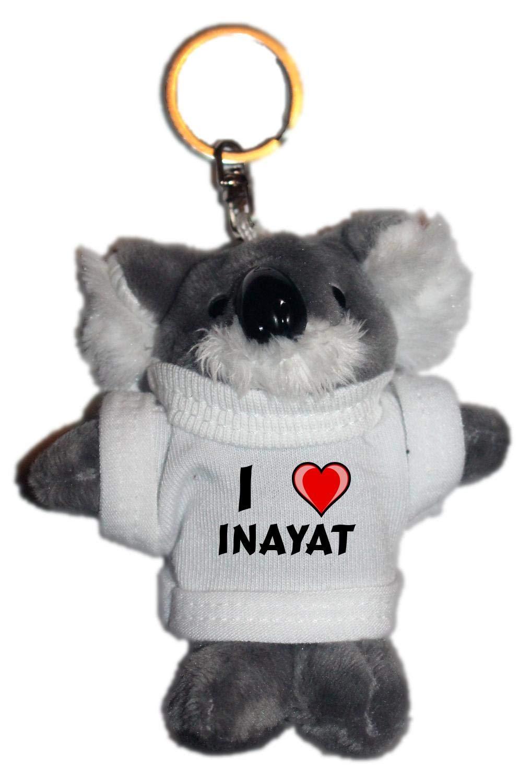 Amazon.com: café gato de peluche llavero con I Love Inayat ...