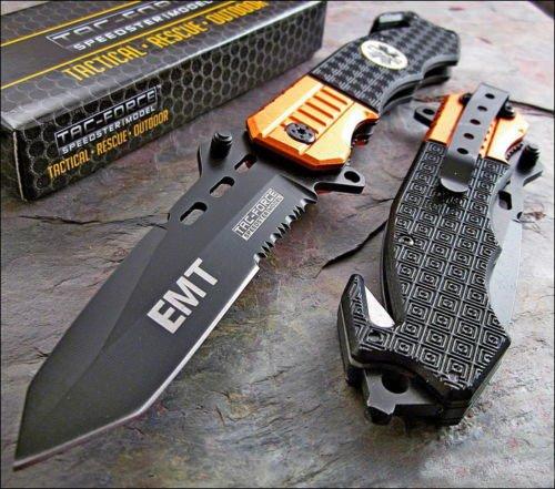 Tac-force Rescue EMT Orange Belt Cutter Glass Breaker Knife Review