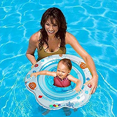 JCREN Baby Pool Float, Baby Boat with Activity Centers Inflatable Pool Float,Baby Bath Safety Seat Double Airbag Swim Rings for Babies Kids Swimming Float PVC Pool Floats for Toddlers of 3-36(Blue): Toys & Games