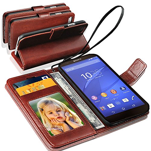 Gbos Case For Sony Xperia Z3, Rich Leather Wallet Cover (Brown)
