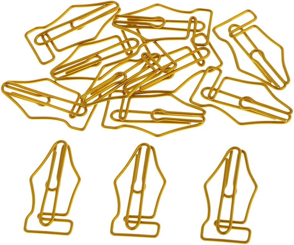 Baoblaze 12 Pezzi Graffetta Segnalibro Clip Nel Modulo a Penna a Sfera di Oro Ago di Carta Carino Pennarello,Regali Gag per Colleghi