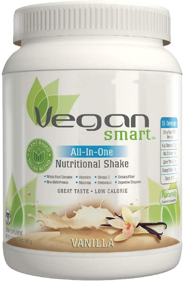 Vegansmart Plant Based Vegan Protein Powder by Naturade, All-In-One Nutritional Shake – Vanilla 22.75 Ounce