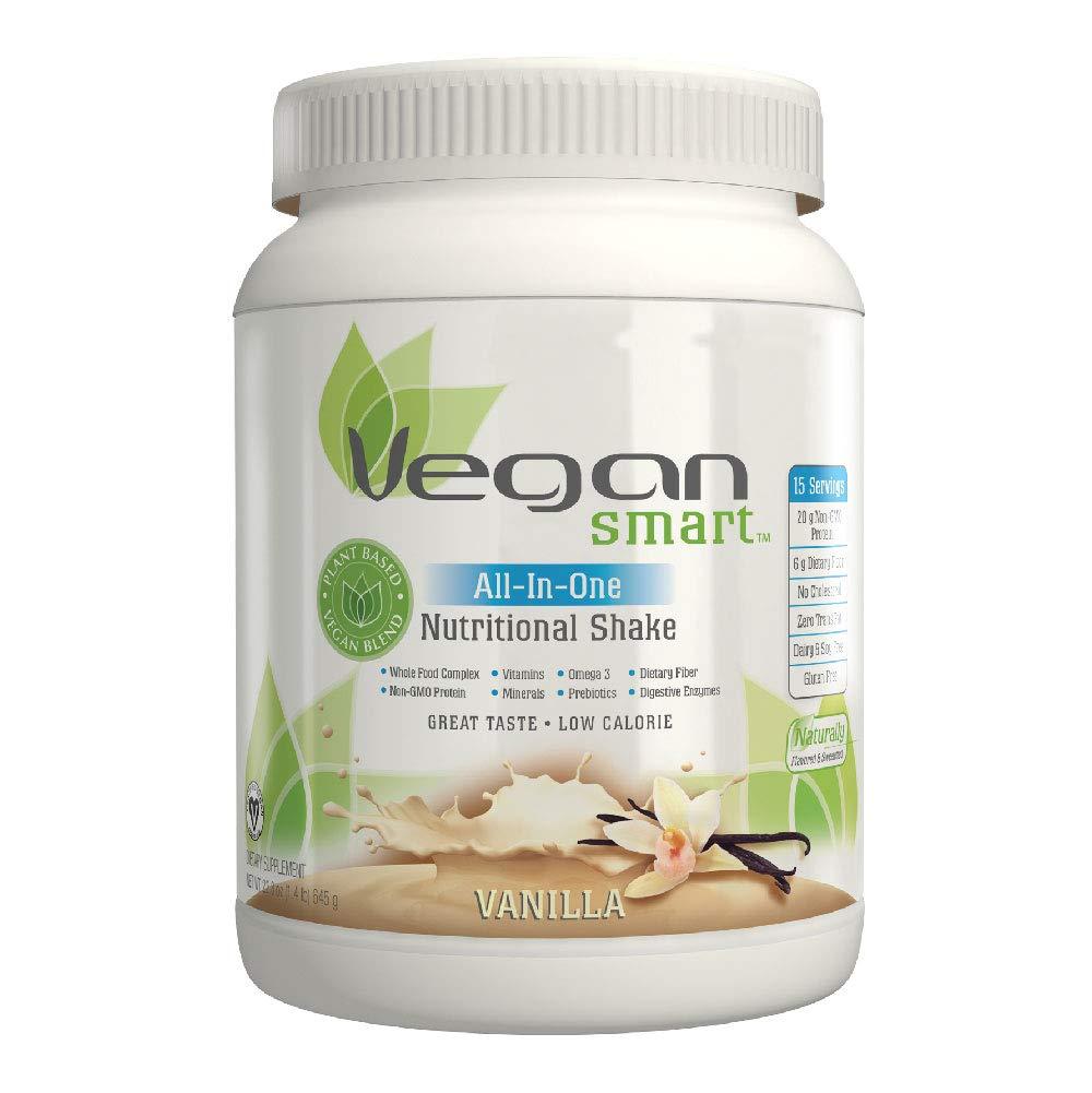 Vegansmart Plant Based Vegan Protein Powder by Naturade, All-In-One Nutritional Shake - Vanilla 22.75 oz