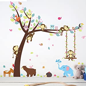 Poorminer Cartoon Forest Animals Wall Decals, Forest Monkey Owls Hedgehog Swing on The Tree Wall Stickers, Vinyl Posters Murals DIY Removable Art Decor for Kids Nursery Girls Room Bedroom Decoration