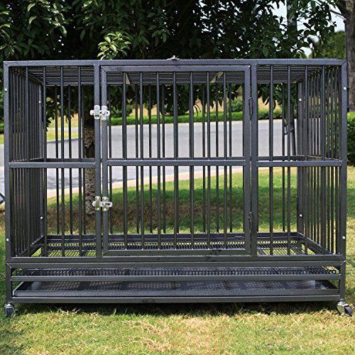 Sliverylake 3XL 48'' Dog Cage Crate Kennel - Heavy Duty Double Door Pet Cage w/Metal Tray Wheels Exercise Playpen (48'', Silver) (Dog Cage 48')