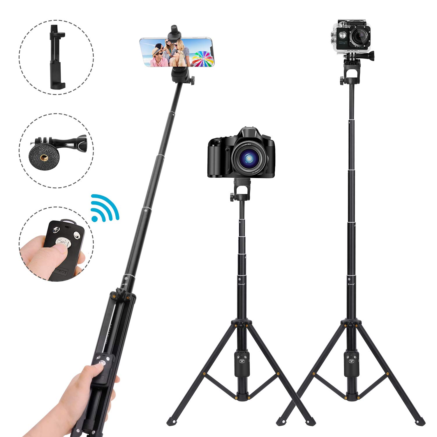 Selfie Stick Tripod, 54 Inch Extendable Camera Tripod for Cellphone, Bluetooth Remote for Apple & Android Devices, Suitable for iPhone 6 7 8 X Plus, Samsung Galaxy S9 Note8, Gopro Adapter Included Leypin