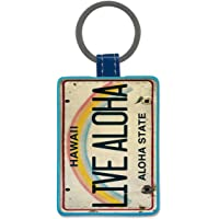 Leatherette Keychain Keyring Key Tag - Live Aloha by Pacifica Island Art