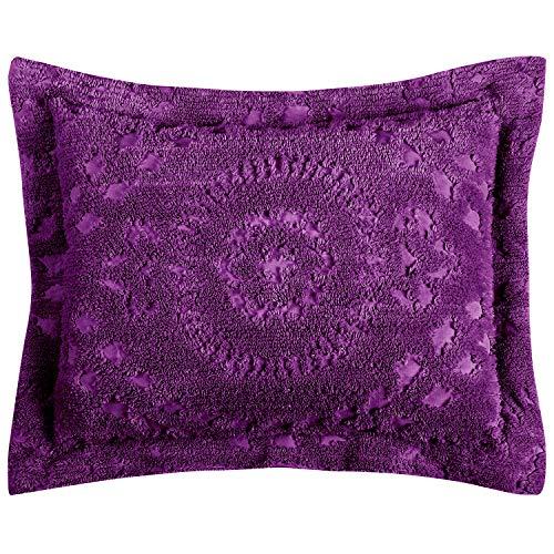 Better Trends Rio Collection in Floral Design 100% Cotton Tufted Chenille, Standard Sham, Plum (Pillow Shams Plum)