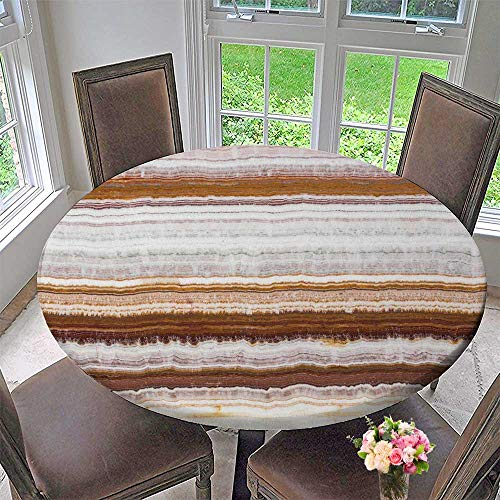 PINAFORE HOME Modern Simple Round Tablecloth Quality Onyx Stone Texture with Cracks Decoration Washable 31.5