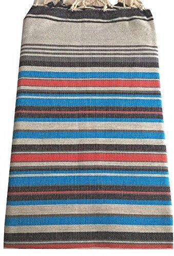 Vent du Sud-Toalla de playa, diseño de manta Hammam-Toalla pareo de baño de algodón rayure base liso, color gris y azul: Amazon.es: Hogar